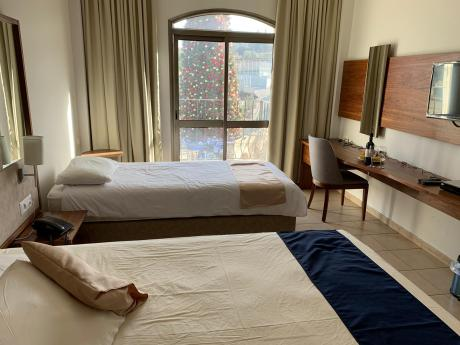 A double room at the Galilee Hotel.