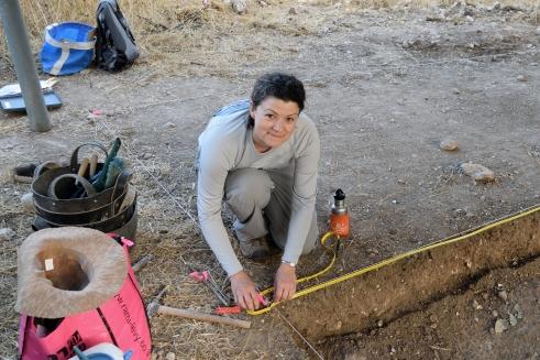 Architect Jen Elam strings up a datum line.